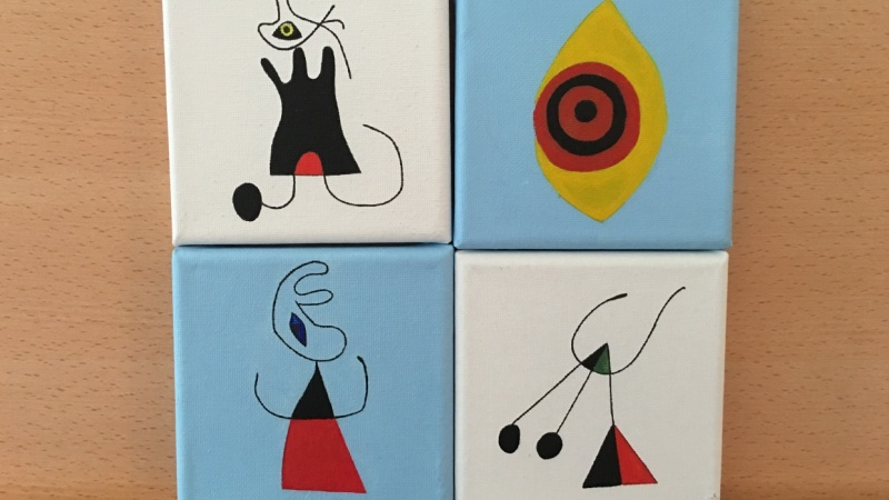 Woman and Birds at Sunrise, Miró 1946