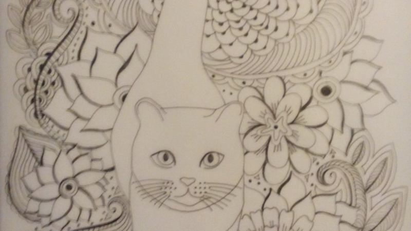 Tangling with My Cat Coloring Page
