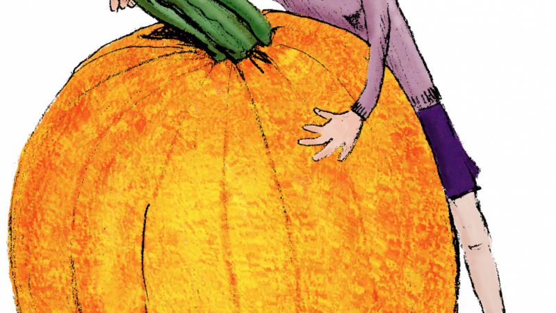 Ellie P shades her pumpkin