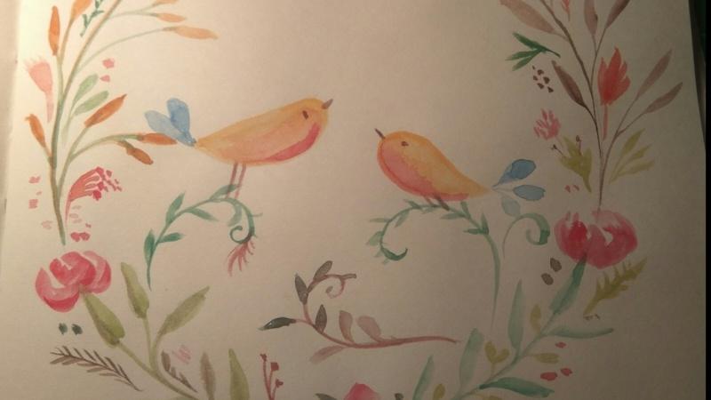 Watercolor Birds&Flowers