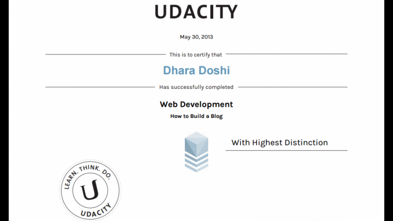 my certificate from Udacity for the course on \