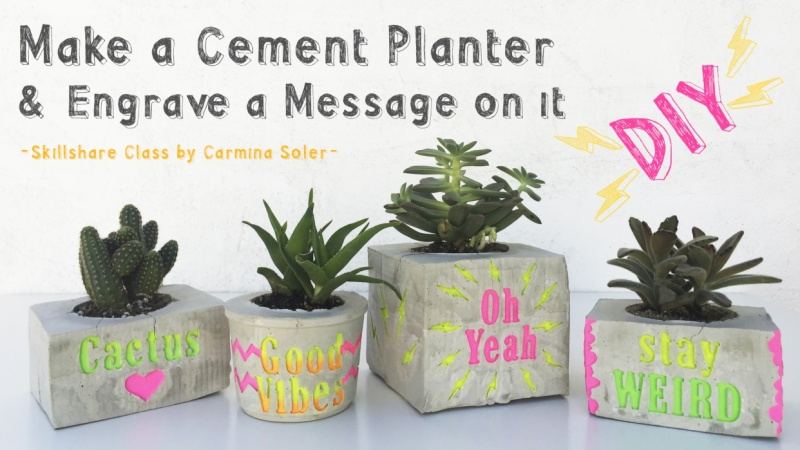 DIY: Make a Cement Planter & Engrave a Personalized Message (SAMPLE PROJECT)