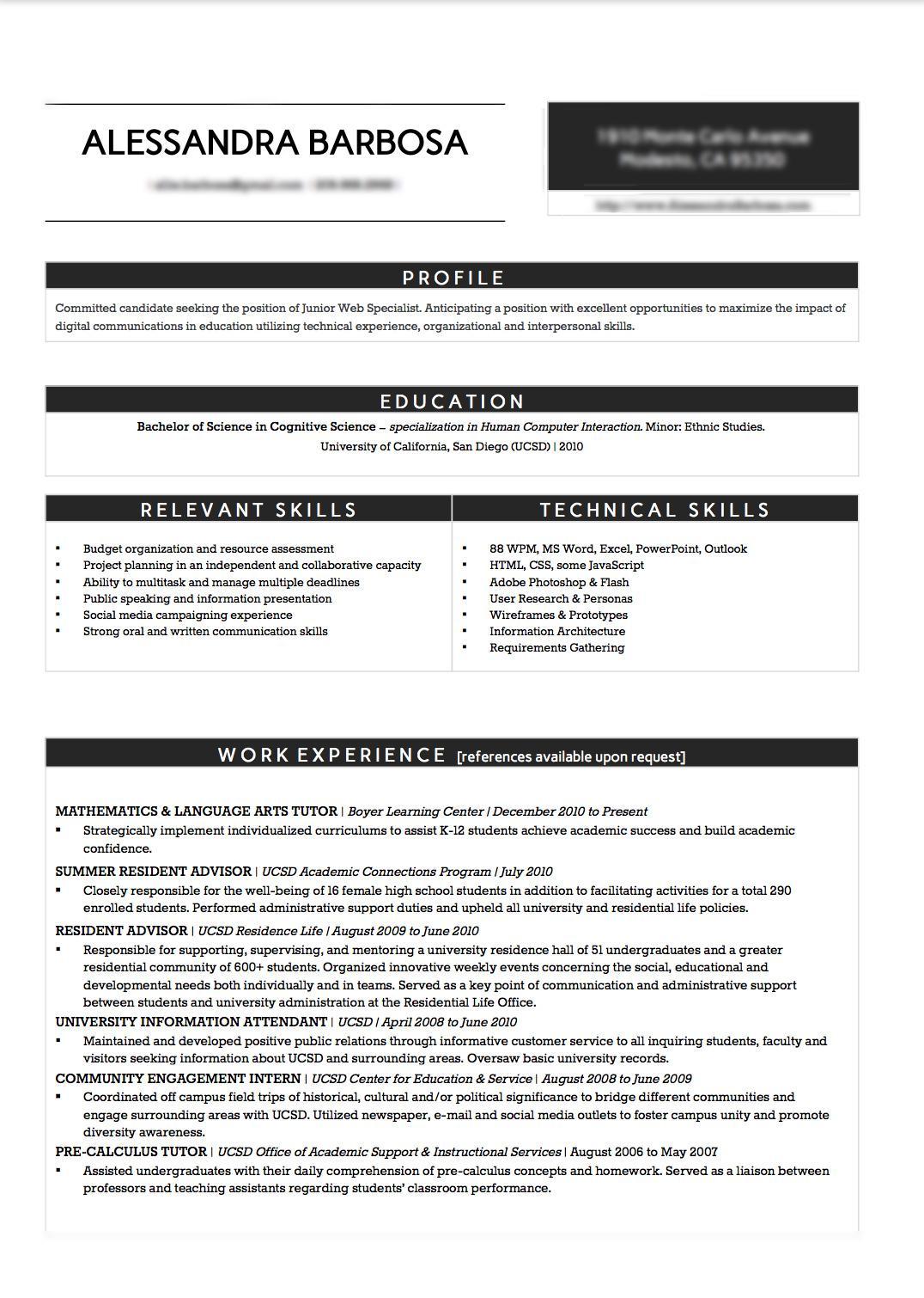 resume redo creative yet organized skillshare projects
