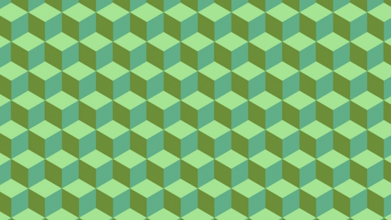 Isometric Cube Pattern in Green