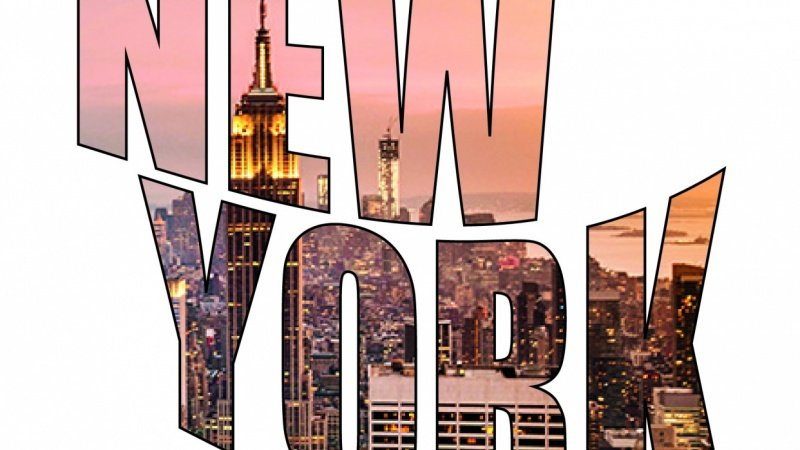 New York - Text Outlined, Masked and Warped