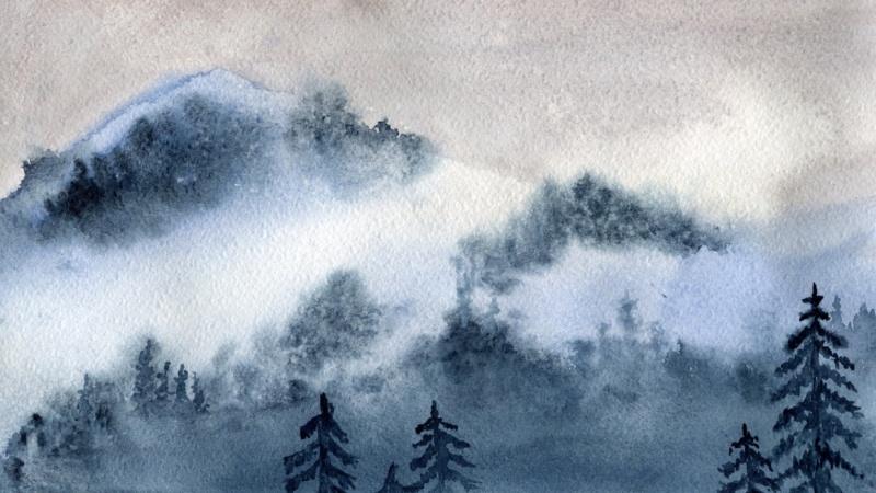 Watercolor Mist Landscape