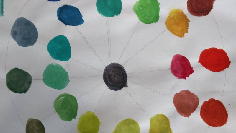Colour Wheel and colour mixing exercises