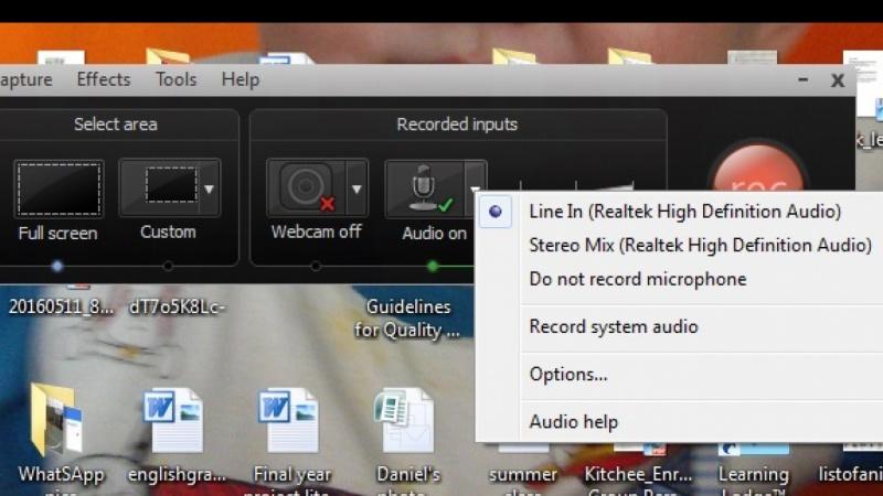 My Camtasia audio settings
