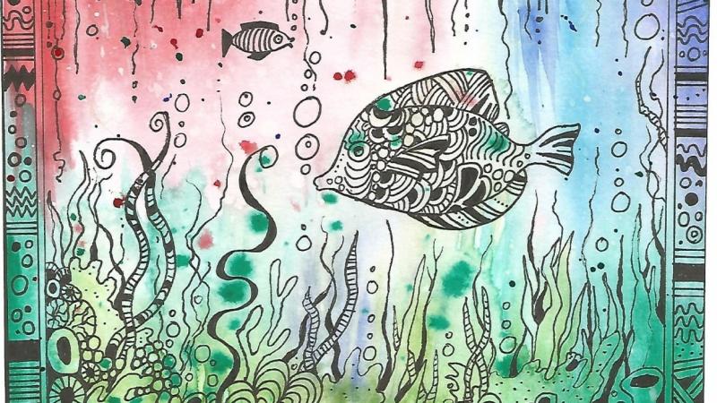 Zendoodle watercolour aquarium