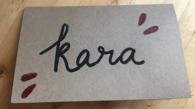 Embossed name cards for a dinner or special occasion