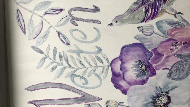 Flowers & Bird Name Plaque
