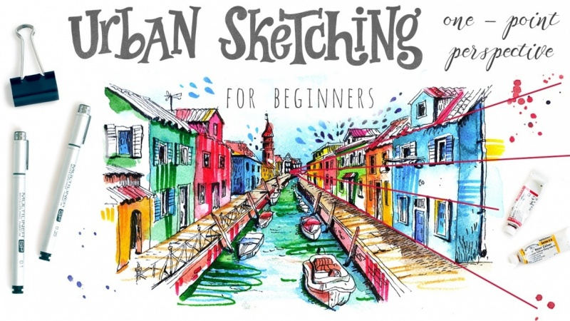 Urban Sketching for Beginners: One - Point Perspective