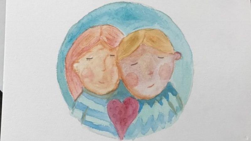 Watercolour Valentines card