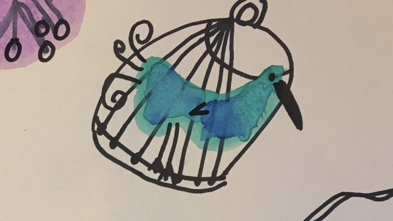 Birds in Cages by Iris, age 7