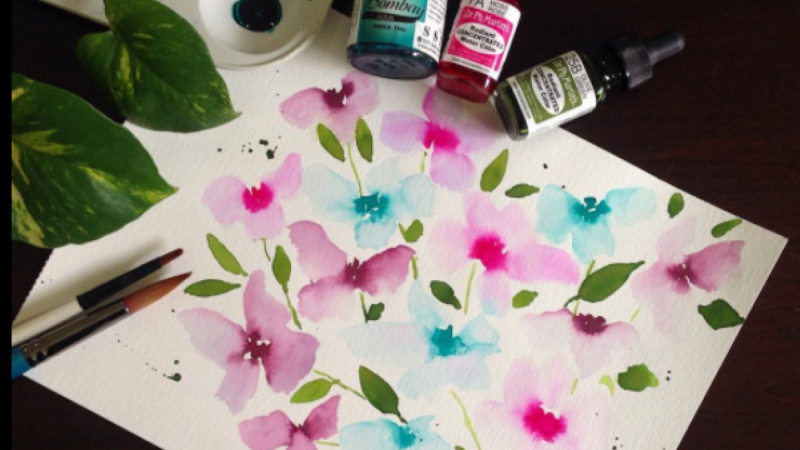 Example Drawing Watercolor Flower with Touching Technique