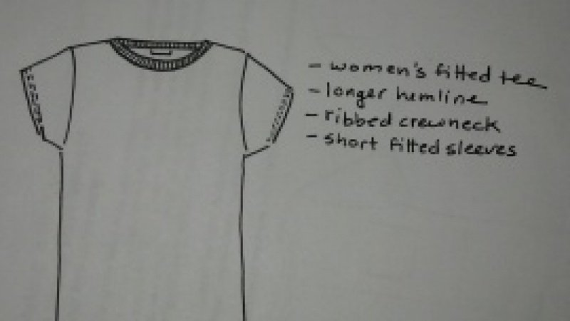 Recreation of Women's Fitted Tee with Longer Hemline