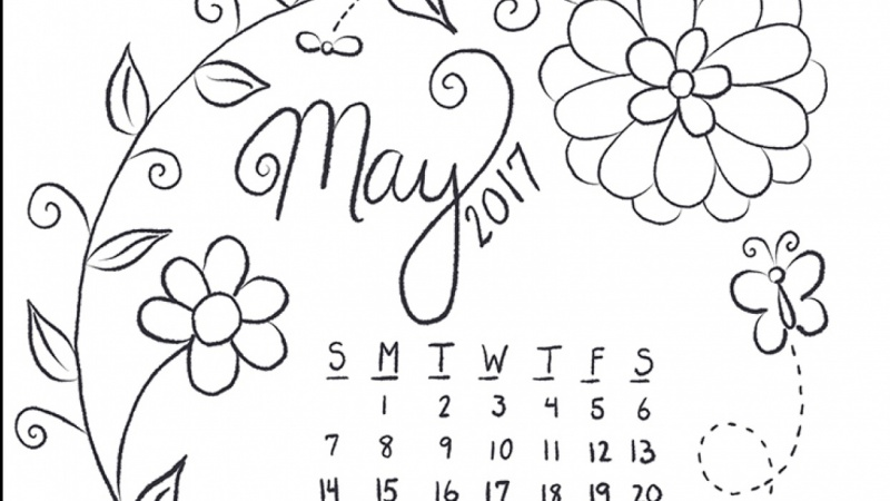 May line art calendar in Procreate
