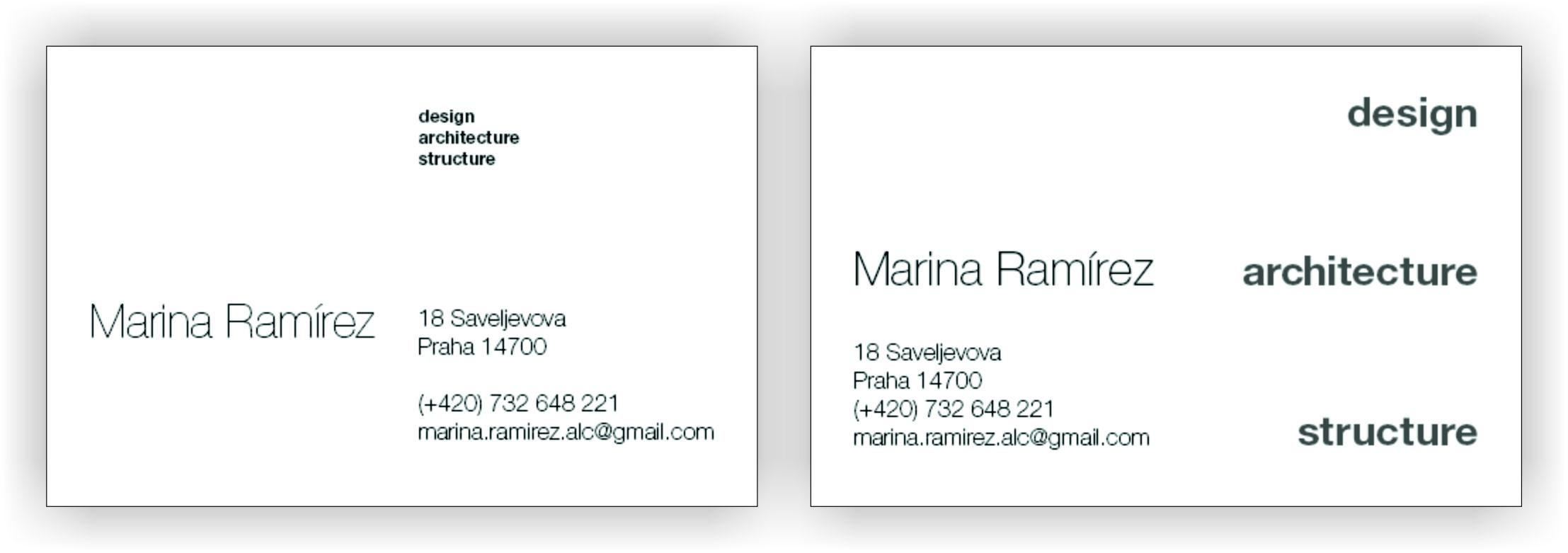 Business card for an architect skillshare projects it didnt feel right my email account is very long and i wanted to highlight the services so i made the second one i put the services in grey so they colourmoves
