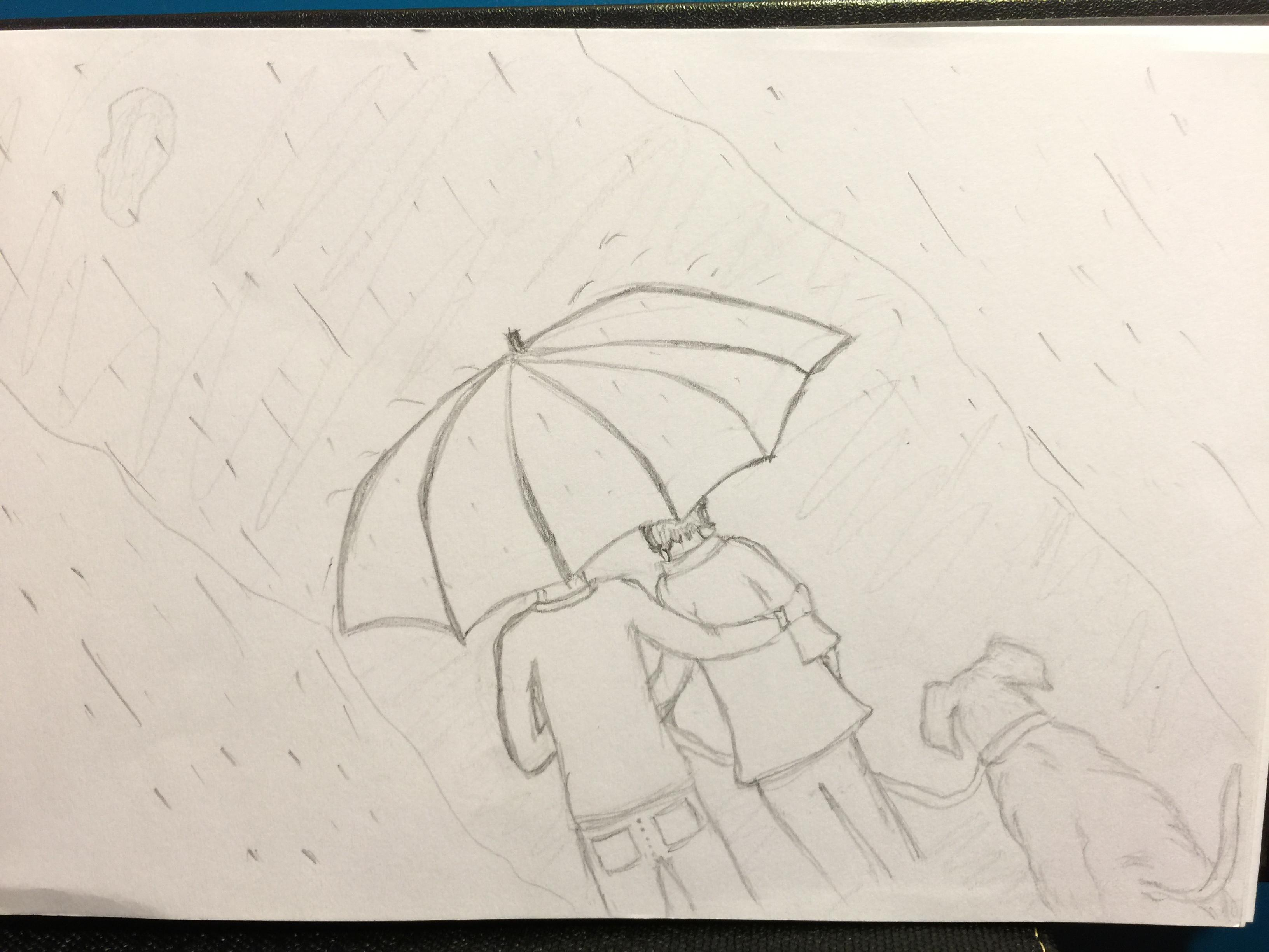 Line Art Umbrella : November 30 day sketch a challenge skillshare projects