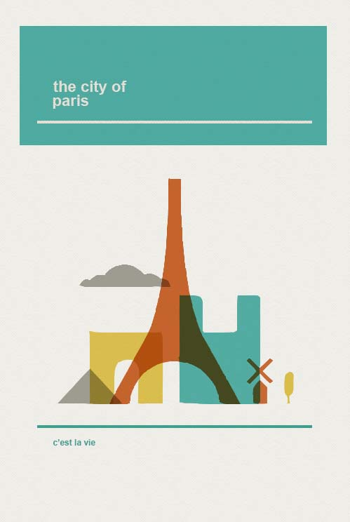 midcentury modern poster of paris