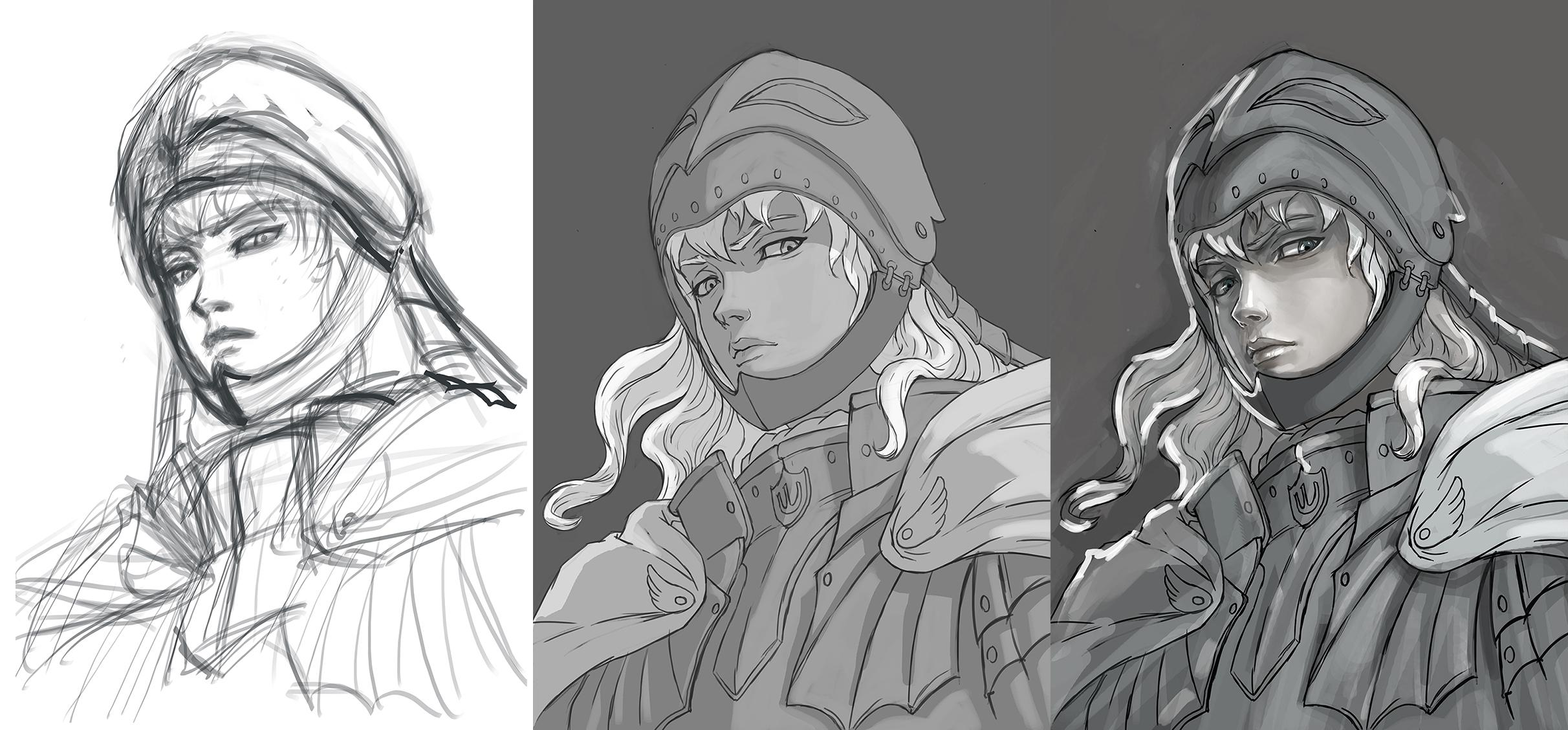 Griffith Fanart Grayscale To Color Skillshare Projects