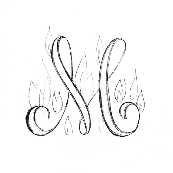 Calligraphy Letter M On Fire