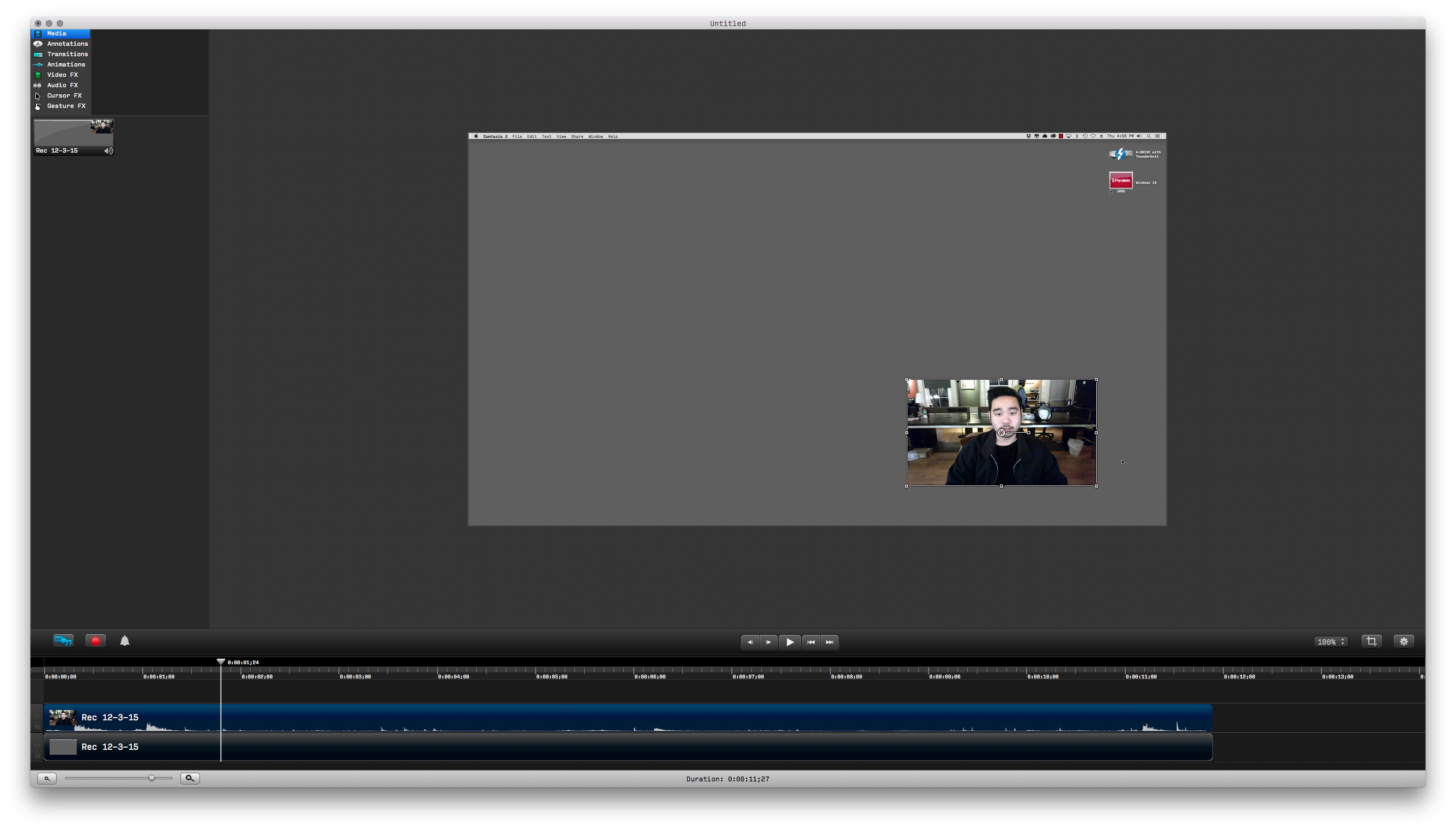 Recording editing and exporting with camtasia for mac skillshare a white border will appear and allow you to drag at the corners to resize and place the videos you can also rotate from the center handle ccuart Gallery