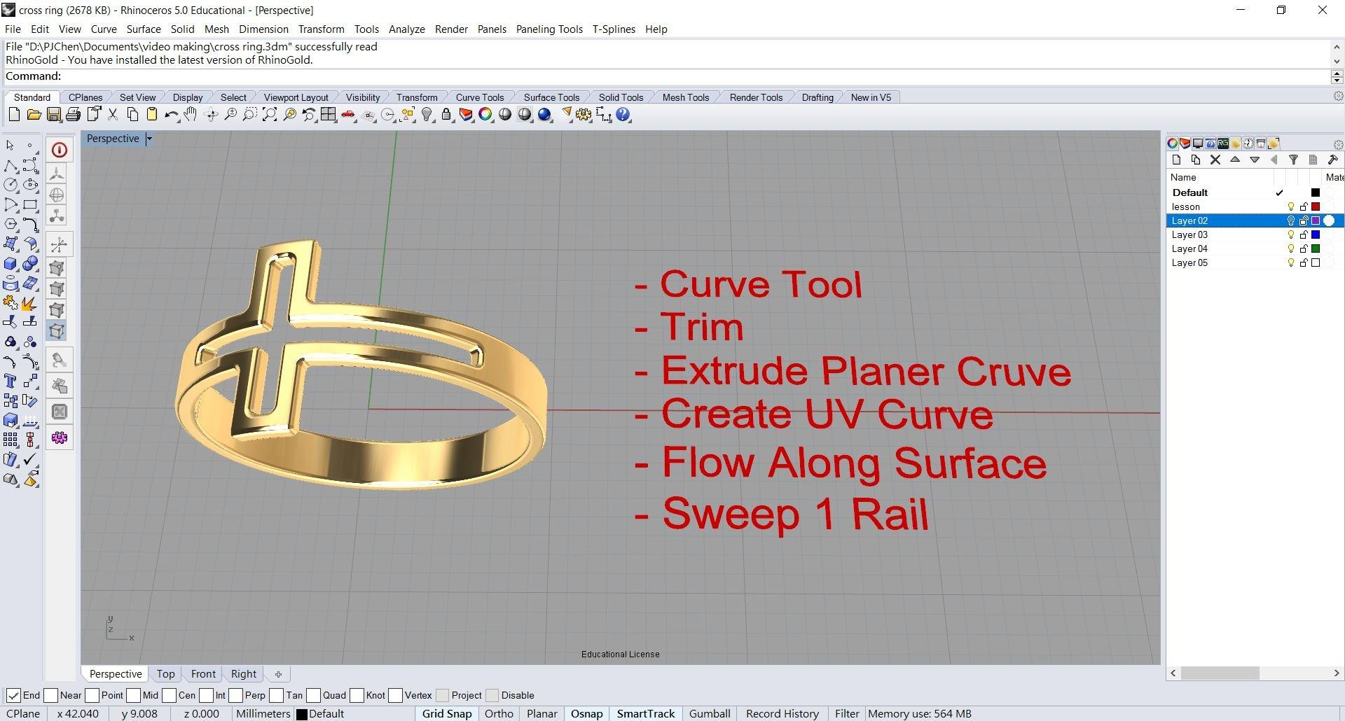 Making a Cross Ring in Rhino 3D | PJ Chen | Skillshare