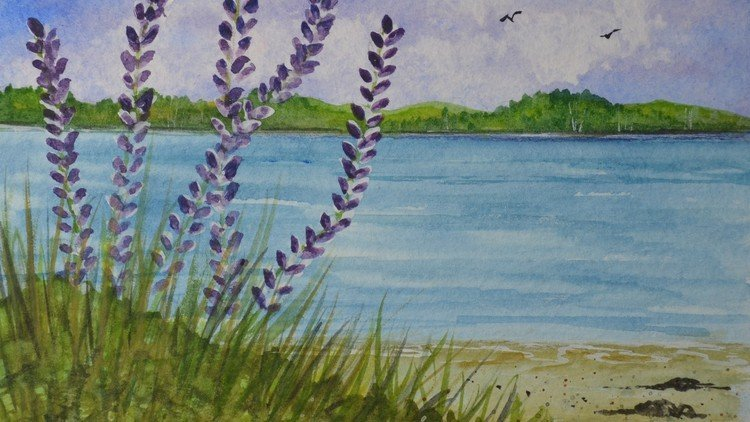 Learn How To Paint Easy Watercolor Lupines Painting Beginner Course