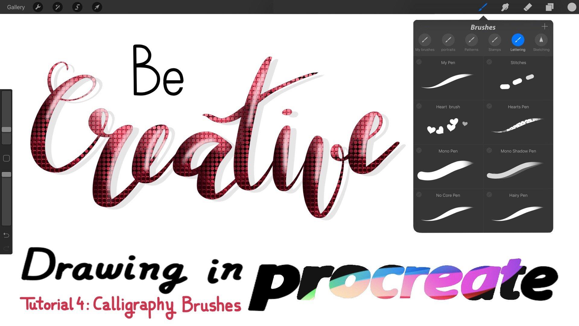 Calligraphy Brushes 30 Procreate Brushes Mono Brushes Lettering Brushes Highlight Brushes Textured Brushes. Procreate App