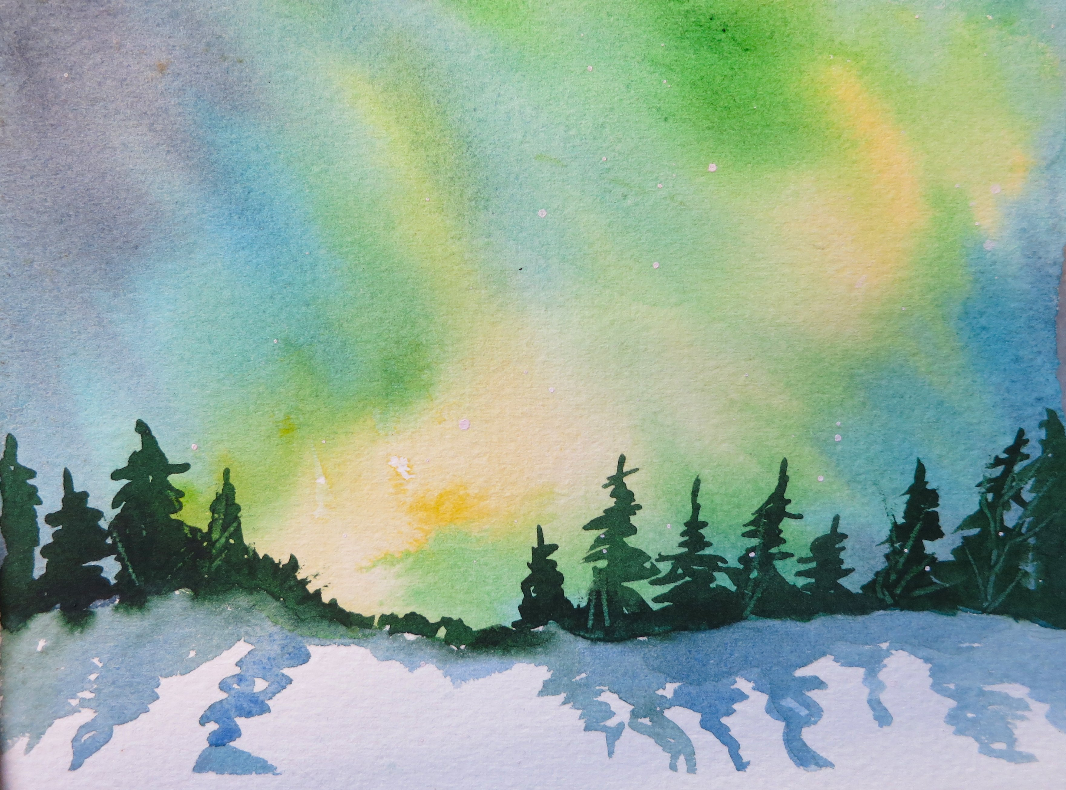 watercolour for beginners 9 aurora borealis or northern