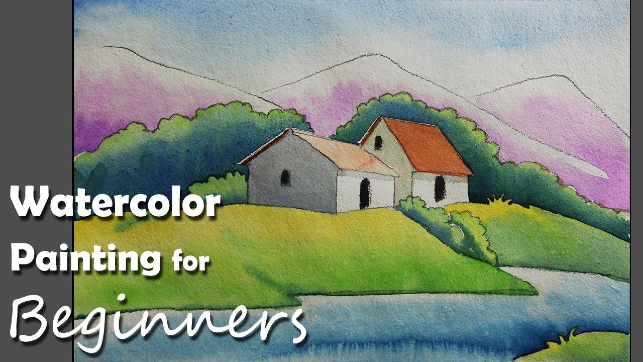 Beginners Watercolor Scenery Painting | Step by step tutorial ...