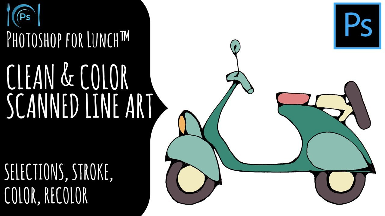 Color lineart in photoshop - Photoshop For Lunch Clean Color Scanned Line Art Helen Bradley Skillshare