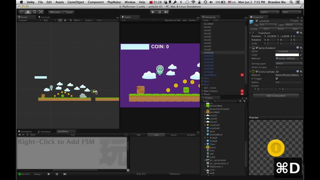 Make a 2D Platformer Video Game with Unity and PlayMaker (no