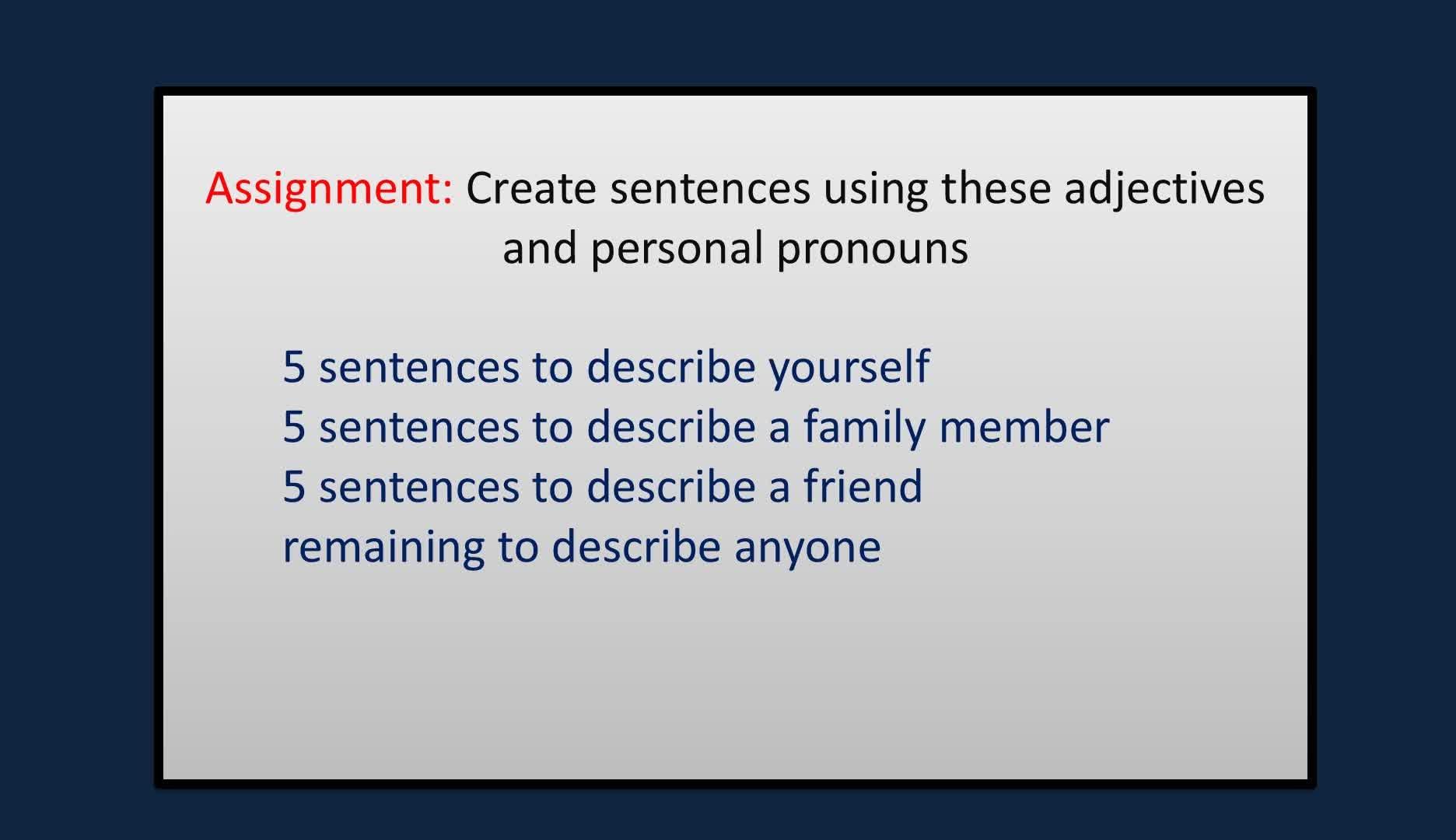 adjectives for describing yourself