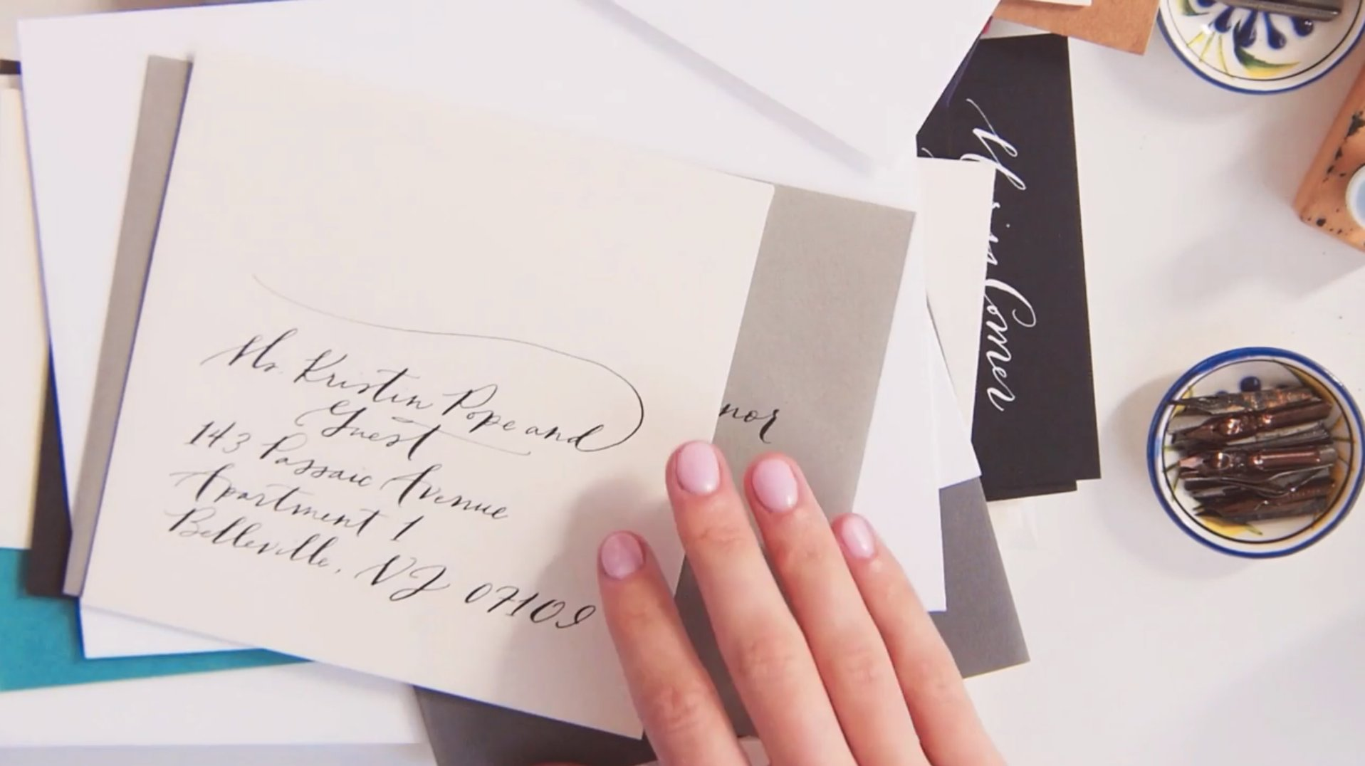 Pen and ink calligraphy the art of the envelope bryn chernoff