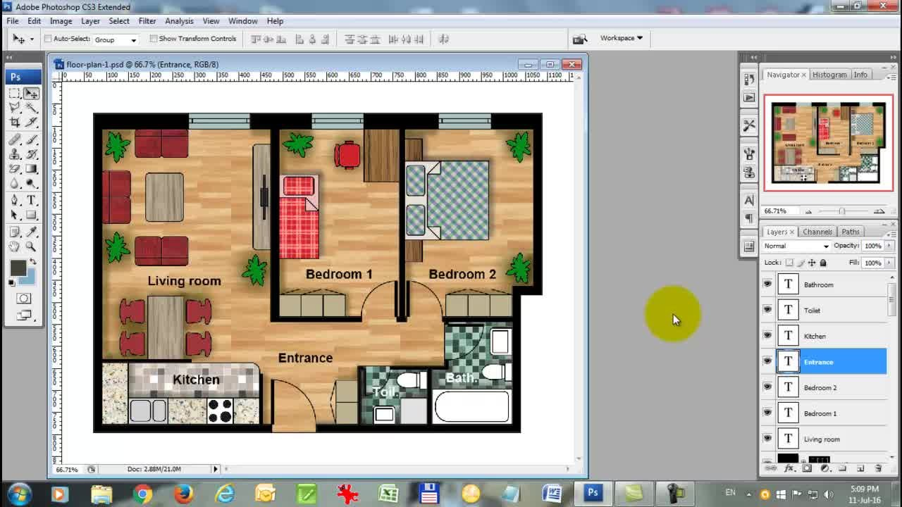 How to Render an AutoCAD Floor Plan with Photoshop | Alek Stanojevic