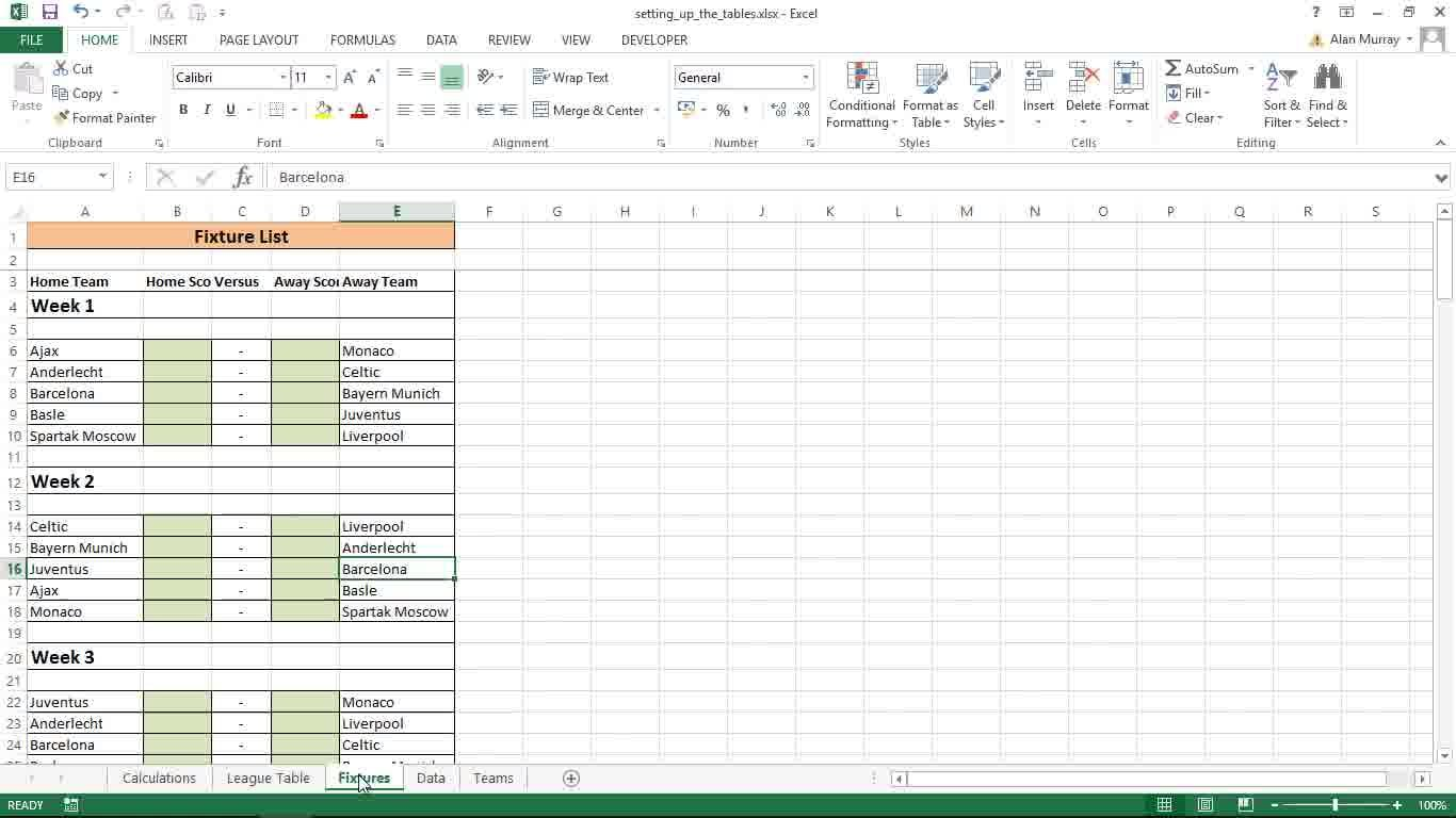 Create an automatic football league table in excel alan murray create an automatic football league table in excel alan murray skillshare alramifo Gallery