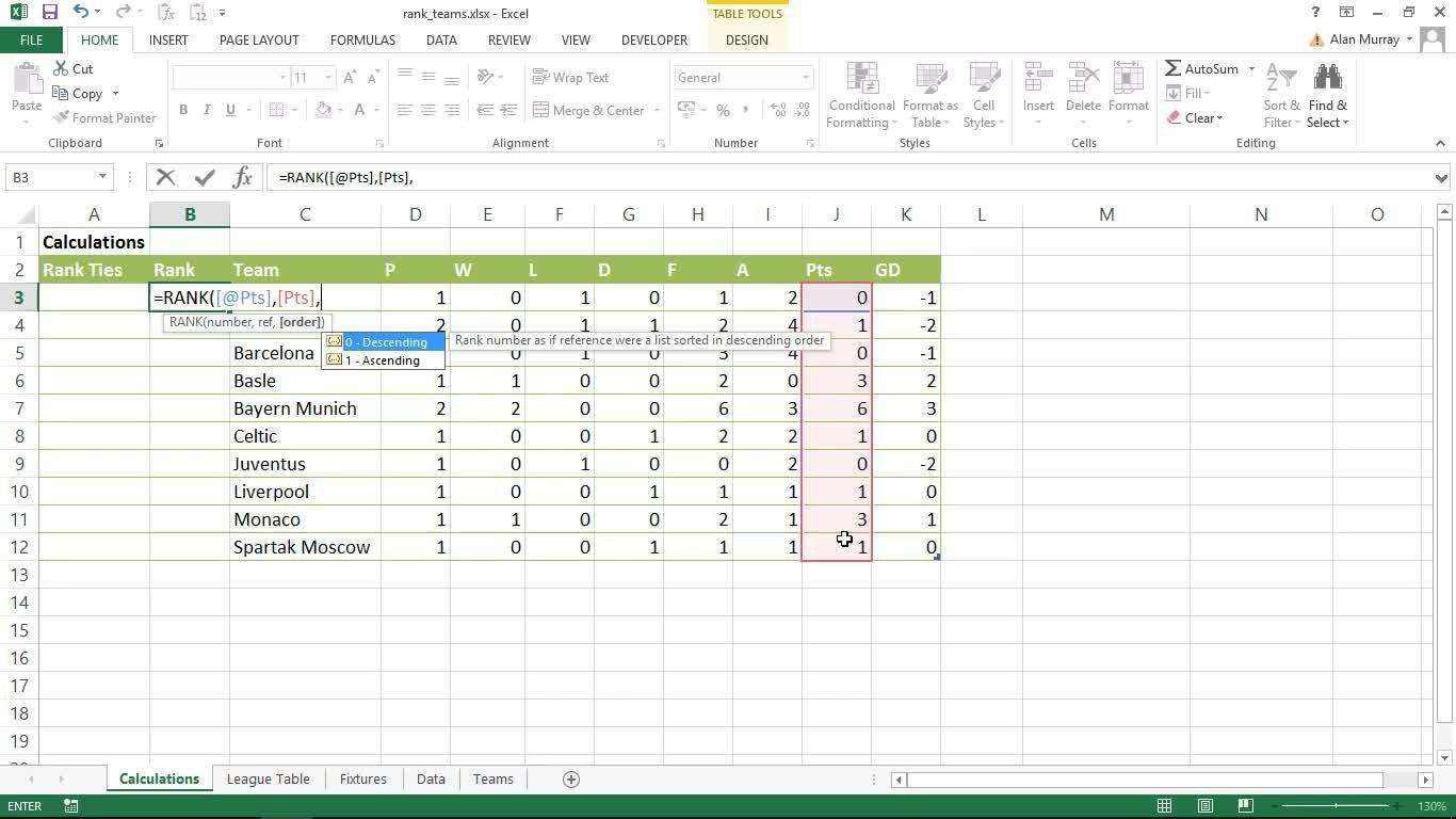 Create an Automatic Football League Table in Excel | Alan