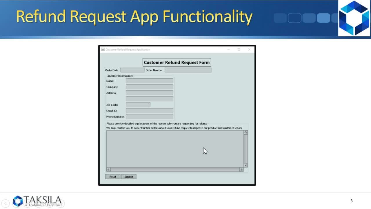Java By Example (Project 06) - Refund Request Form | Taksila LLC