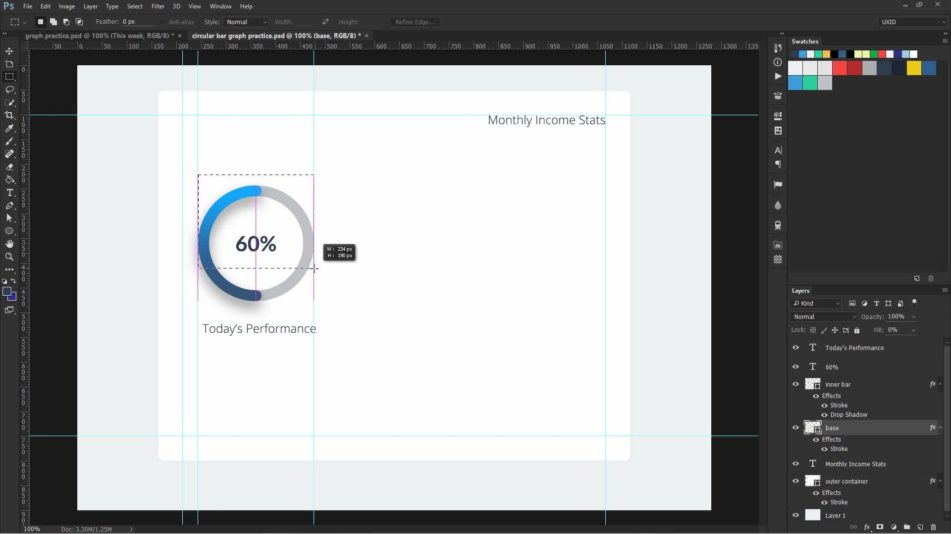 Design Dribbble like Circular and Bar graphs in Photoshop