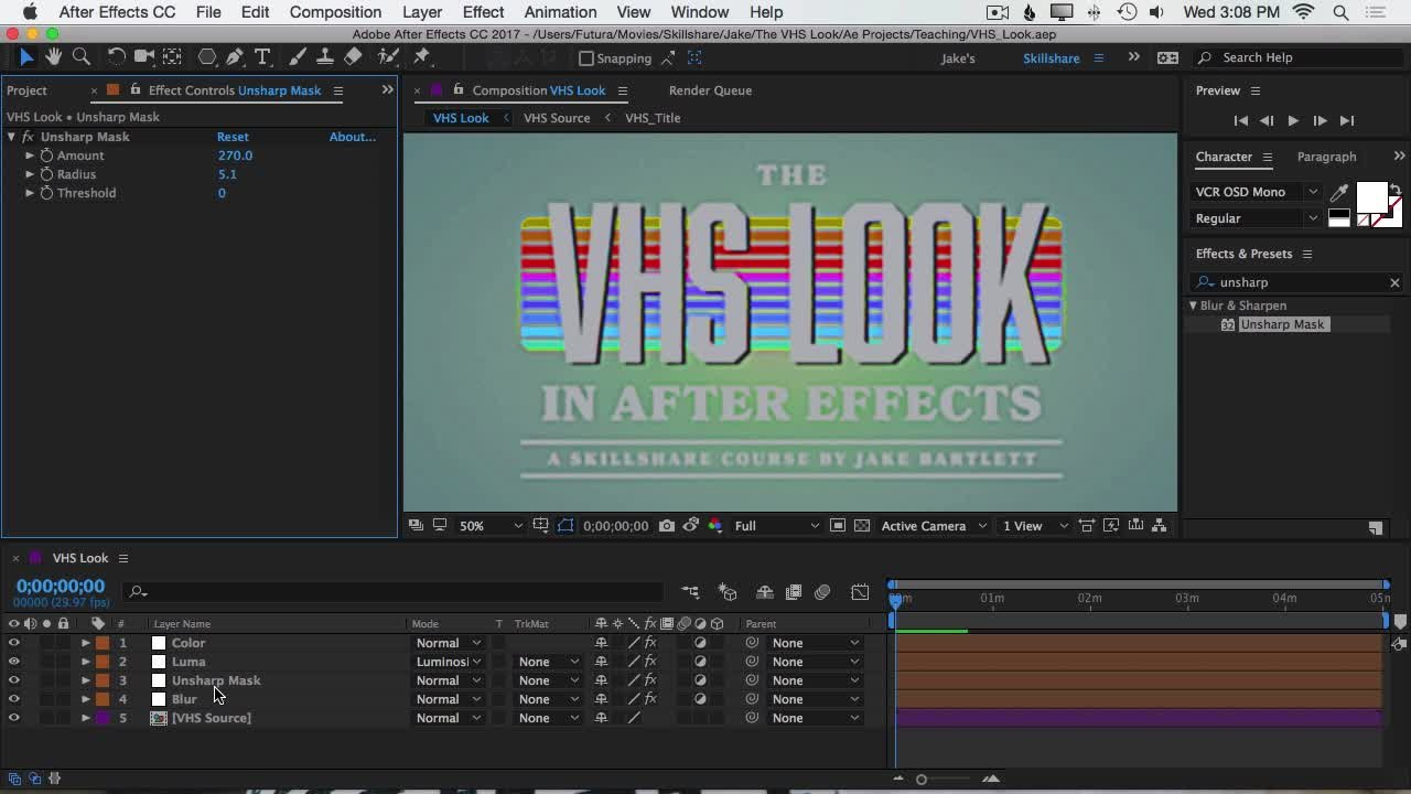 The VHS Look in After Effects | Jake Bartlett | Skillshare