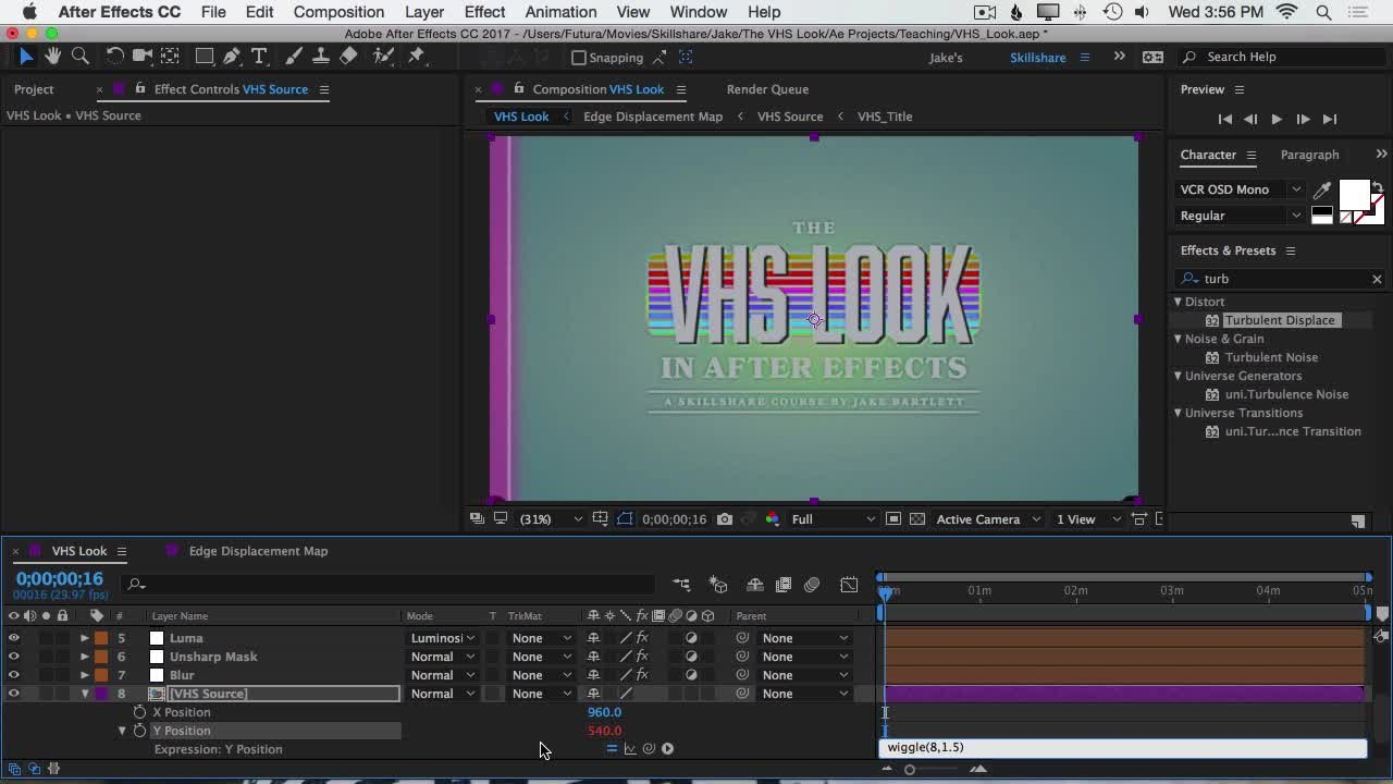 The VHS Look in After Effects | Jake Bartlett | Skillshare Displacement Map After Effects on