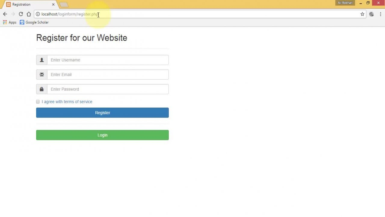 Responsive php registration form from scratch syed ali skillshare falaconquin