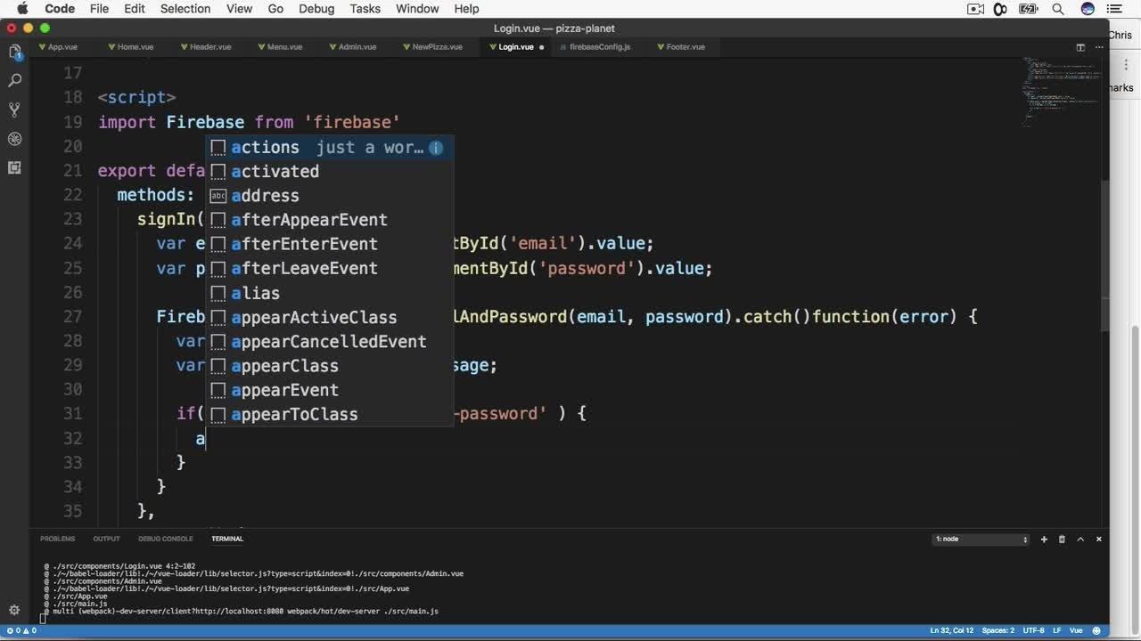 Vue js: Build a Full Stack App With Firebase, Vuex & Vue