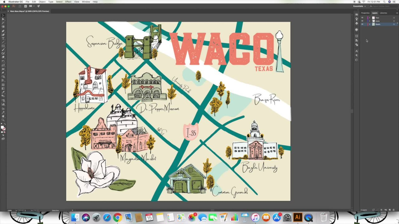 Map Of Josephine County Oregon, Create A Map Of Your Hometown Using Illustrator Josie Adams Skillshare, Map Of Josephine County Oregon