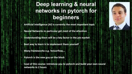 Deep learning and neural networks in Pytorch for beginners