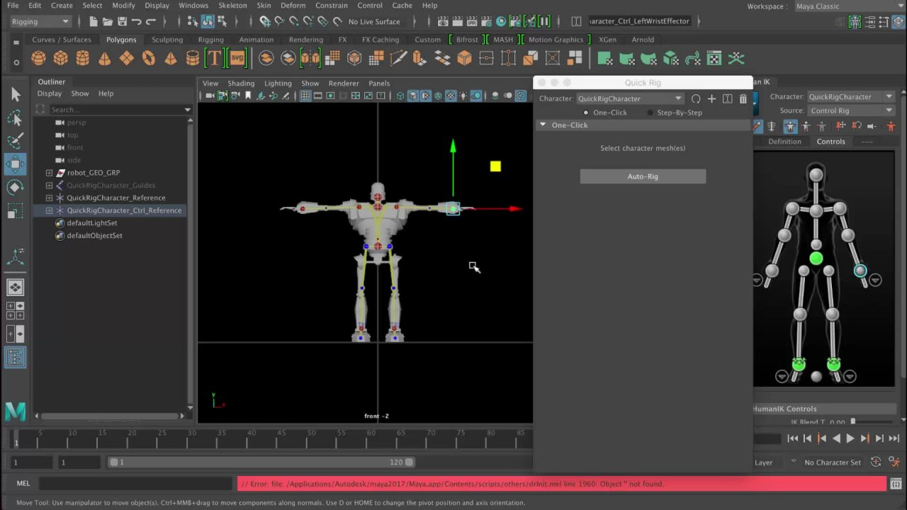 Maya 3d rigging - Learn how to quickly rig a biped character for