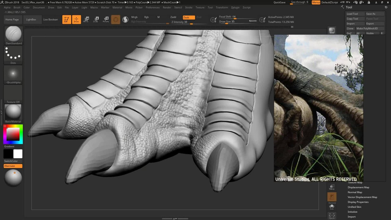 Realistic Dinosaur Sculpting in Zbrush for Game and Film | Nexttut