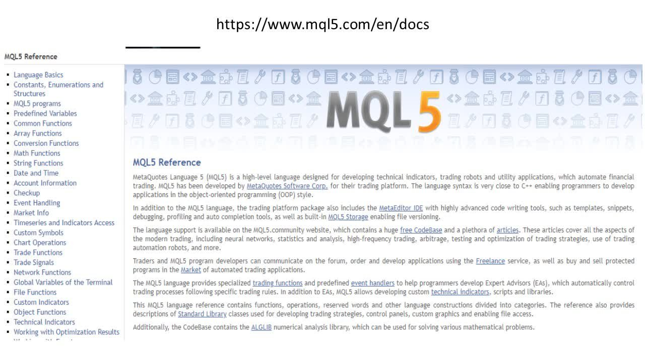 MQL5: Creating Trading Robots and Indicators  Advanced use of the